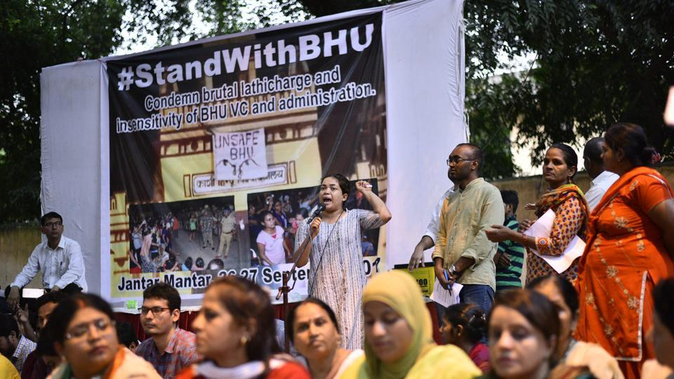 Students during a protest at Jantar Mantar in New Delhi on Tuesday against lathicharge on students of BHU.