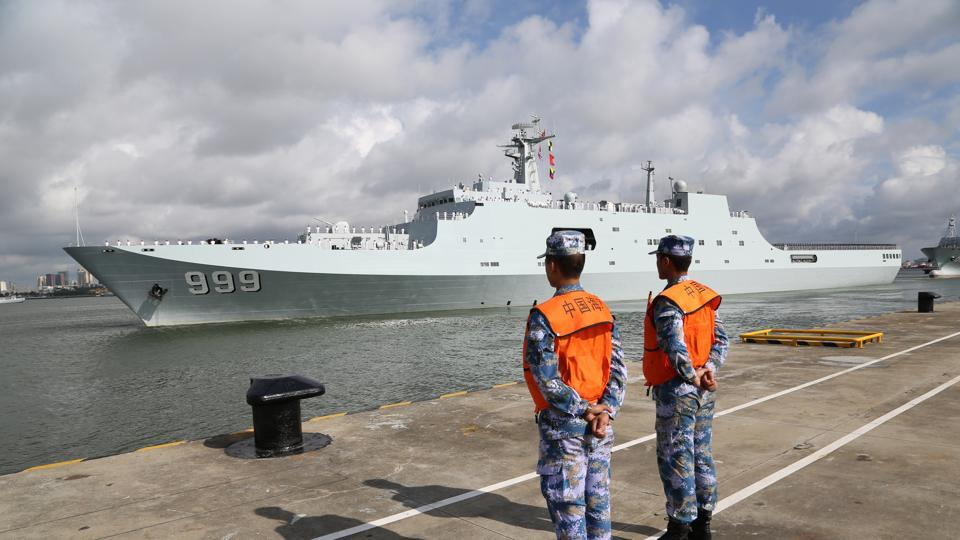 File photo from July 11, 2017 shows a warship carrying Chinese military personnel bound for the country's first overseas base in Djibouti departing a port at Zhanjiang in Guangdong province.
