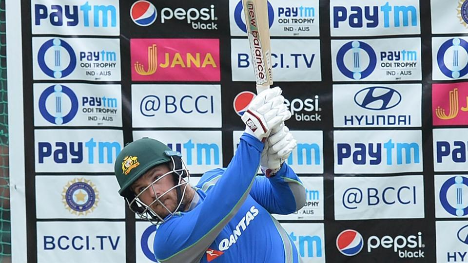 Aaron Finch bats during a practice session ahead of the fourth ODI at the M. Chinnaswamy Stadium in Bangalore. (AFP)