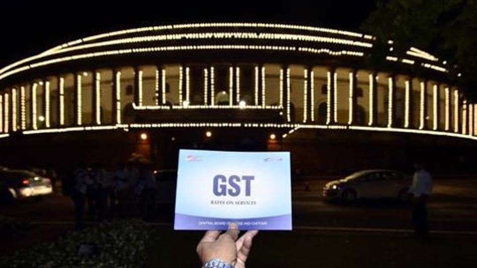 The Parliament building is lit up for a special session for the GST launch, in New Delhi on June 30, 2017.