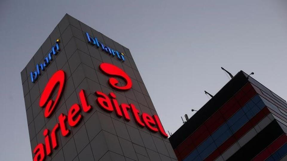 A Bharti Airtel office building is pictured in Gurugram on the outskirts of New Delhi.