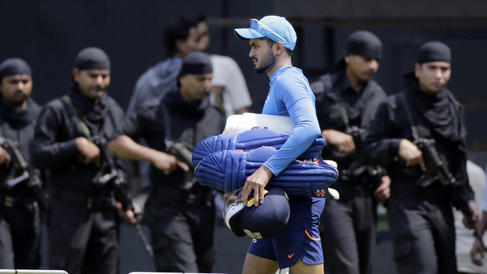 Indian cricketer Manish Pandey arrives for a practice session.