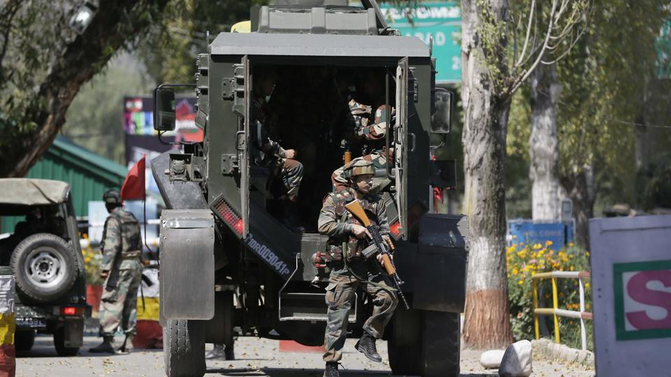 Indian army soldiers at the army base, which was attacked by suspected rebels in Uri, in September 2016.