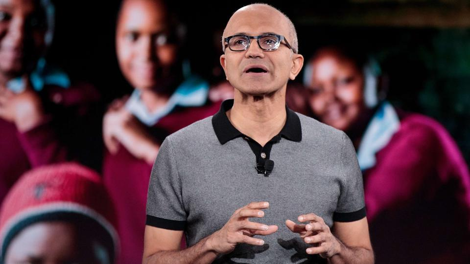 Microsoft CEO Satya Nadella speaks during a Microsoft event in New York City.