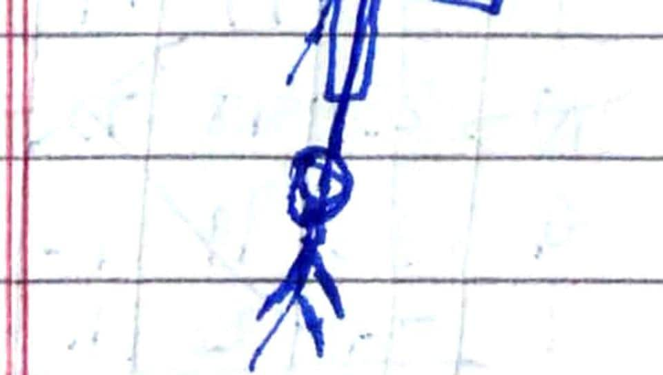 Karan Thakur in Panchkula was sharing links from the Blue Whale Challenge with his Rohtak friend, Pankaj Kumar. He committed suicide on Saturday. Police later found sketches in a notebook (pictured here) Thakur did, speculating of ways to die.