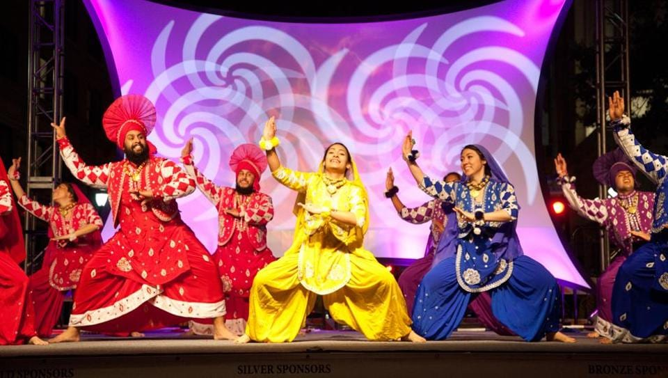 Punjabi dancers performing Bhangra during San Antonio's annual Diwali Festival – the largest city-sponsored Diwali celebration in the nation.