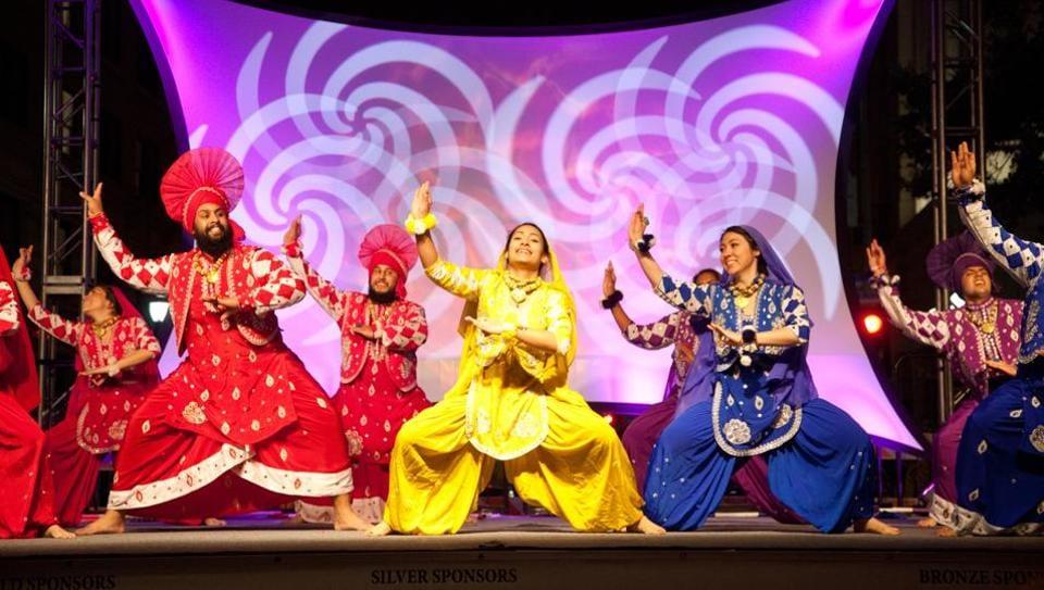 Punjabi dancers performing Bhangra during San Antonio's annual Diwali Festival – the largest city-sponsored Diwali celebration in the nation.