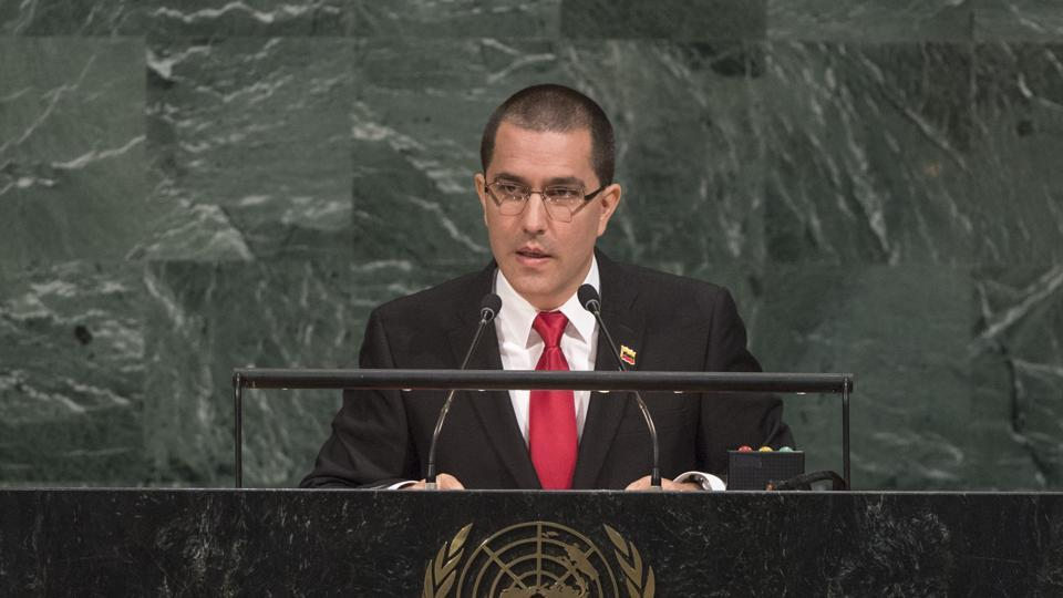 Venezuela foreign minister Jorge Arreaza addresses the United Nations General Assembly at UN headquarters on Monday.