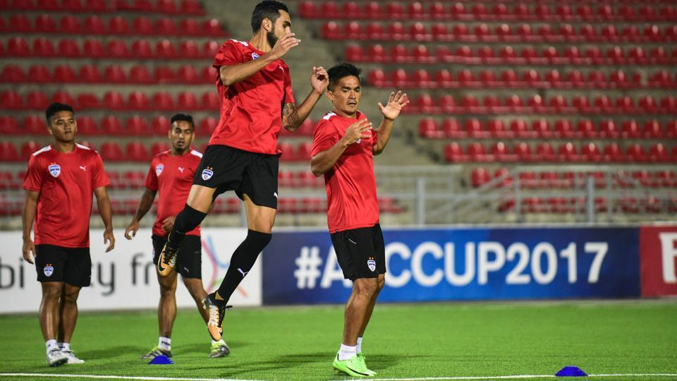 Bengaluru FC players train for the AFC Cup match vs FC Istiklol at the Hisor Central Stadium, in Tajikistan's capital Dushanbe, on Tuesday.