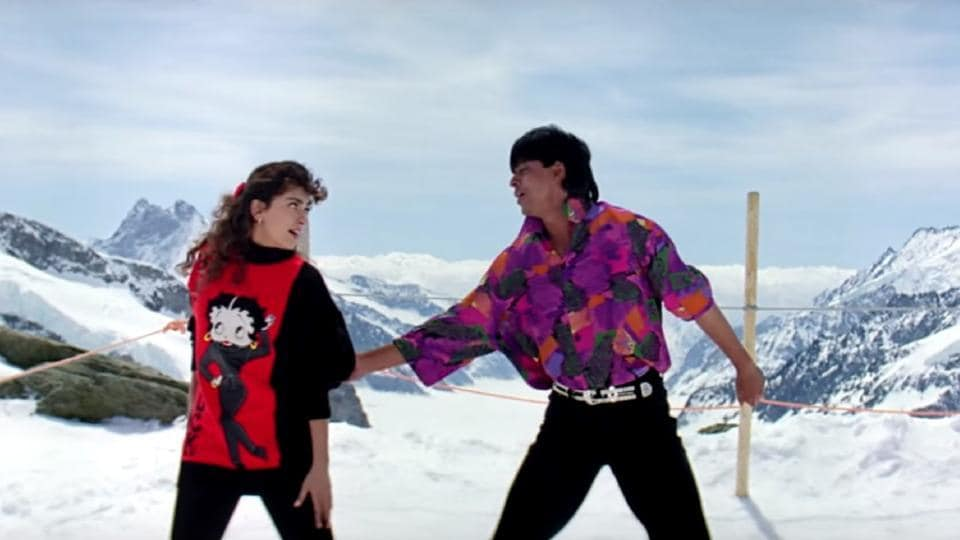 Yash Chopra shot for Darr with Shah Rukh Khan and Juhi Chawla in Switzerland.