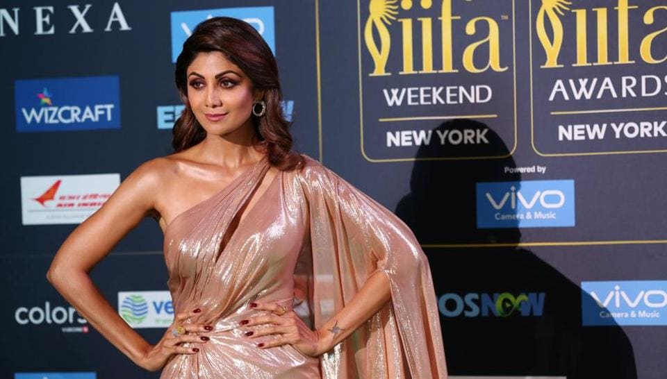 Shilpa Shetty poses for a picture on the Green Carpet at the International Indian Film Academy Awards (IIFA) show at MetLife Stadium in East Rutherford, New Jersey.