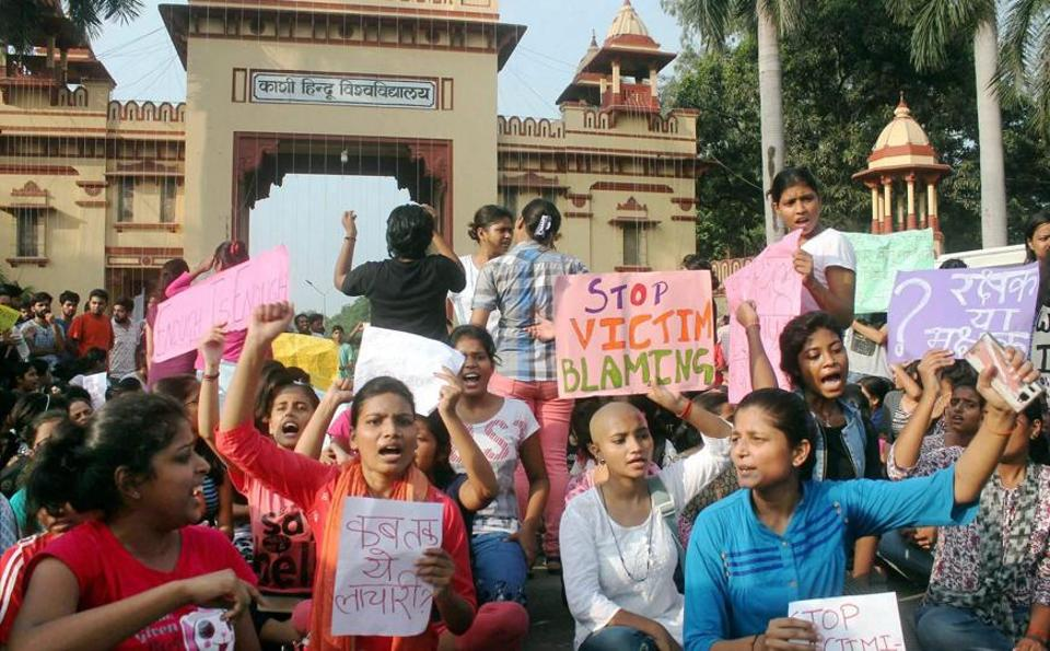 Students of the Banaras Hindu University protest the molestation of a student on the campus, in Varanasi on Saturday.