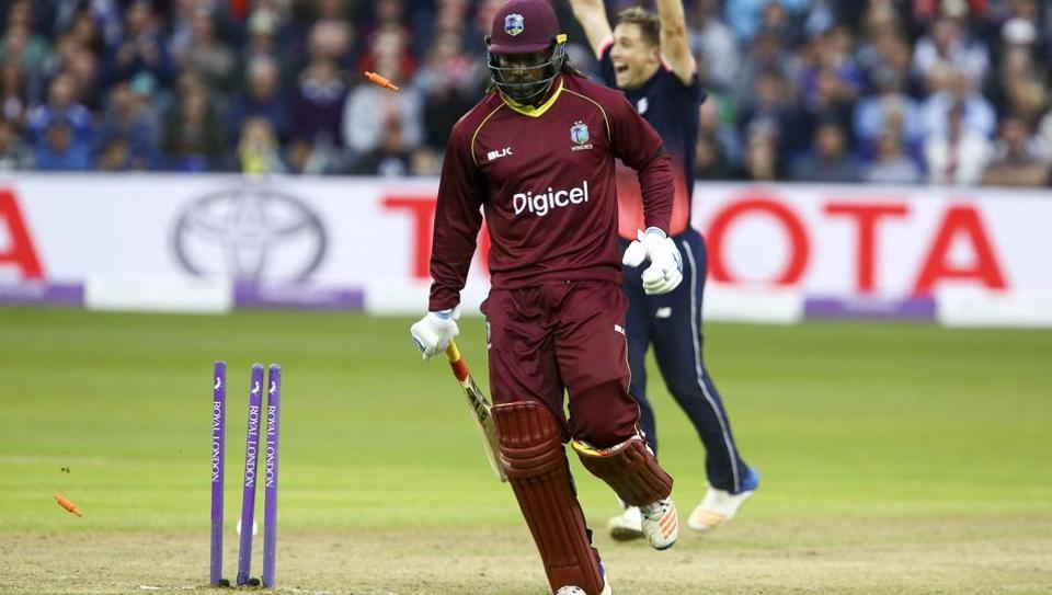 West Indies' Chris Gayle is run out by England's Adil Rashid (not pictured) for 94 during the third one day international cricket match at the Brightside Ground in Bristol on September 24, 2017.  Windies are already 2-0 down in a five-match series, with one no-result.