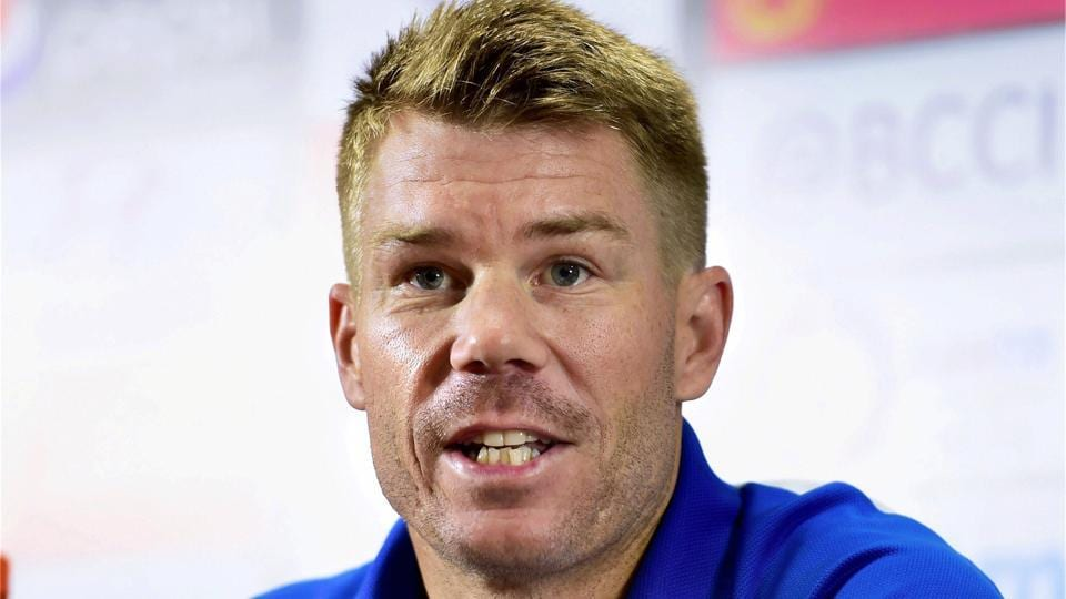David Warner speaks during a press conference ahead of the 4th cricket ODI against India at Chinnaswamy Stadium in Bangalore on Wednesday.