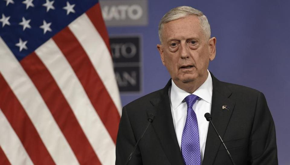US defence secretary James Mattis delivers a speech during a press conference at the Nato Defense Council meeting at the NATO Headquarters in Brussels. Fighter jets, drone deals and shared concerns over Afghanistan's security challenges have been expected to dominate the agenda in his visit to India