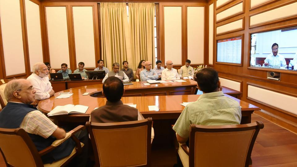 Prime Minister Narendra Modi chairs an interaction through PRAGATI - the ICT-based, multi-modal platform, in New Delhi on September 27, 2017. (PIBPhoto)