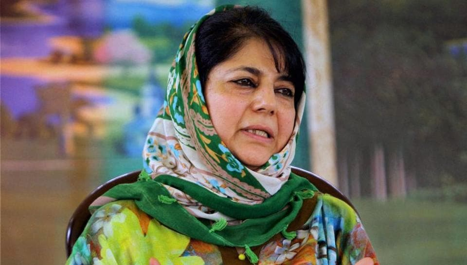 Jammu and Kashmir Peoples Democratic Party president Mehbooba Mufti addresses a press conference in Srinagar on Sunday.