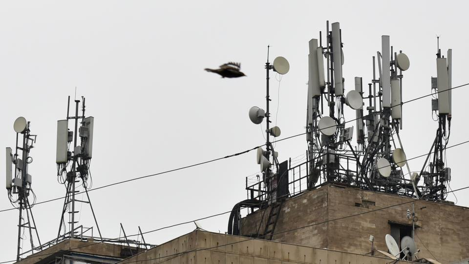 Mobile tower on the roof of a house in Noida.
