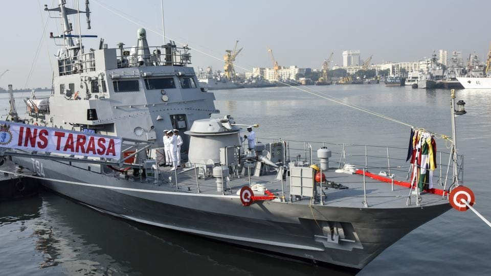 Navy officials aboard the newly commissioned INS Tarasa at the Naval Dockyard in Mumbai, Maharashtra, on September 26, 2017. INS Tarasa, a Water Jet Fast Attack Craft intended for extended coastal and offshore surveillance and patrolling, was commissioned into the Indian Navy here on Tuesday by Western Naval Command chief Vice Admiral Girish Luthra. (Kunal Patil / HTPhoto)