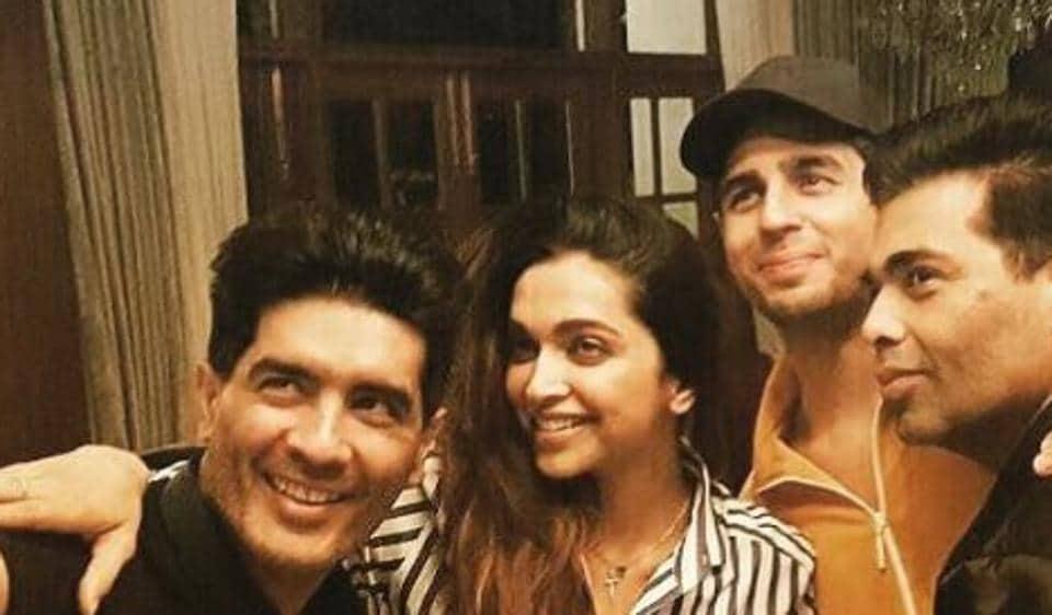 Sidharth Malhotra, Karan Johar and Deepika Padukone visited Manish Malhotra's house Tuesday evening and had a gala time.