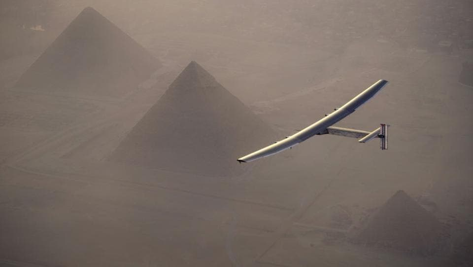 Egypt's pyramids need no introduction. In this handout image supplied by Jean Revillard, Solar Impulse 2- the solar powered plane piloted by Swiss pioneer Andre Borschberg, is seen during the fly over the pyramids prior to landing in Cairo on 13 July, 2016 in Giza, Eygpt.  (Jean Revillard / Solar Impulse2 via Getty Images)