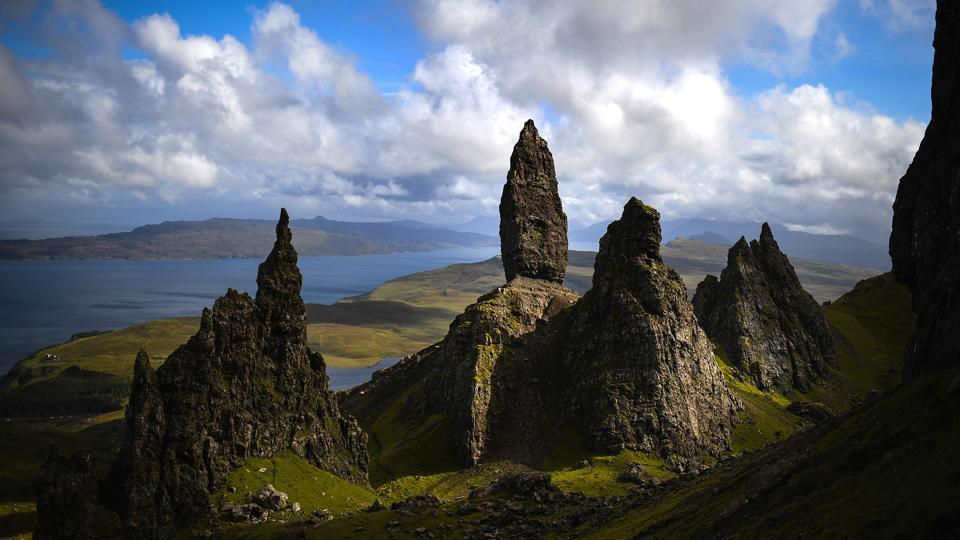 A long view of the Storr on the Isle of Skye in Portree, Scotland. The Isle of Skye is known to be one of the most beautiful places in Scotland, however its infrastructure services are being stretched to the limit by the number of visitors heading there to enjoy its rugged scenic beauty.  (Jeff J. Mitchell / Getty Images)