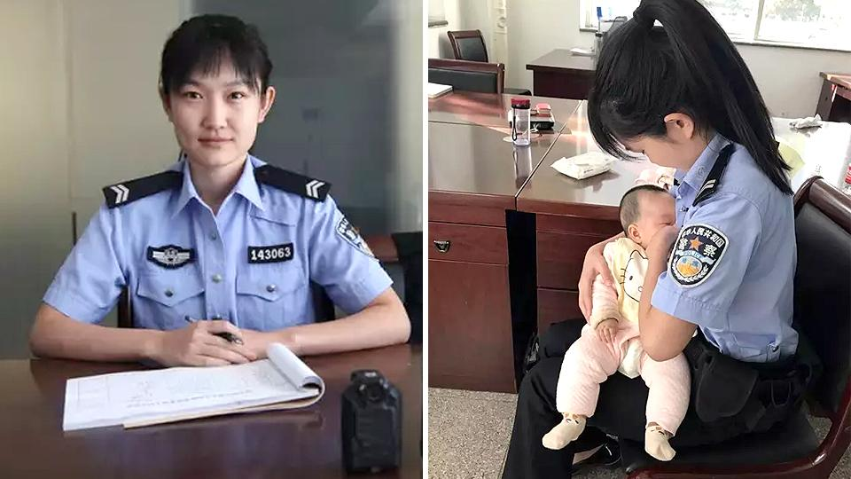 The heartwarming moment was captured by one of the officers