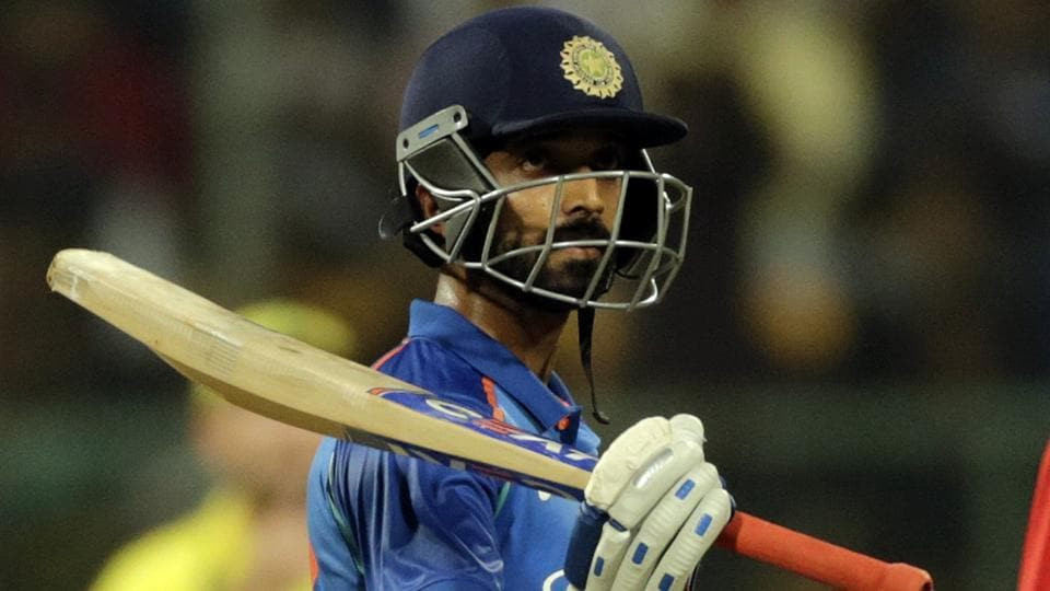 Indian cricket team player Ajinkya Rahane celebrates his fifty during the 4th ODI against Australia in Bangalore on Thursday.