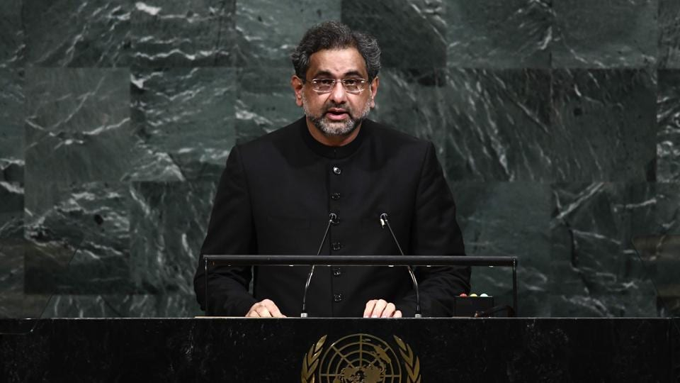 Pakistan's Prime Minister Shahid Khaqan Abbasi addresses the United Nations General assembly at the UN headquarters in New York, September 21