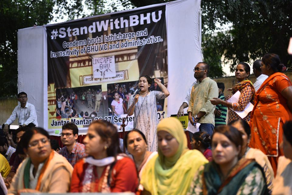 Students during candle light protest against lathicharge on students of BHU, at Jantar Mantar in New Delhi on September 26.