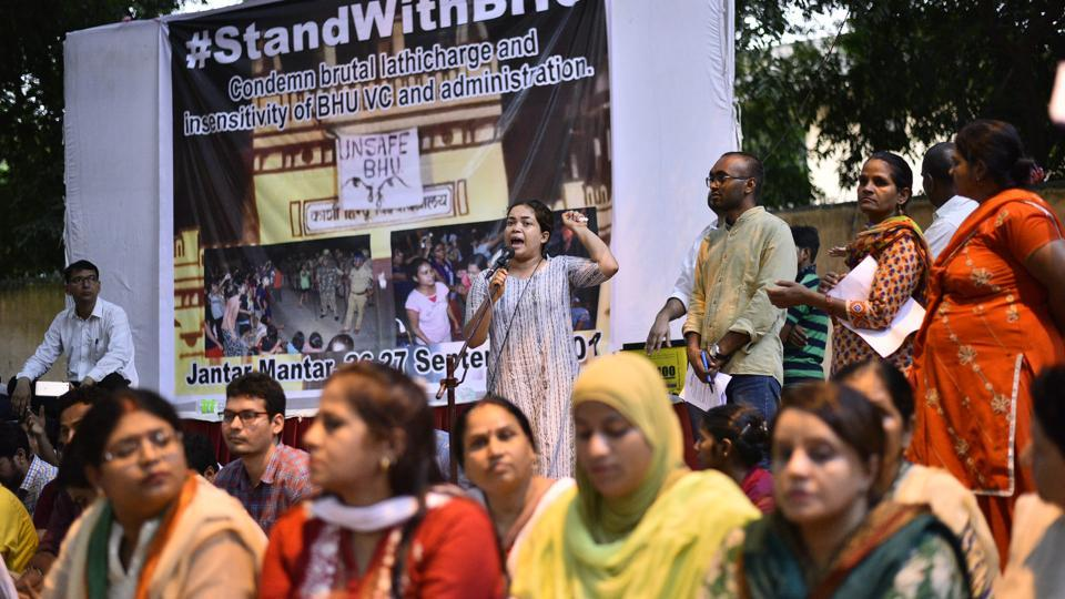 Students carry out a candle light protest against the lathicharge on BHU students who were protesting an allegation of molestation on campus. Pictured at Jantar Mantar in New Delhi  on September 26, 2017.
