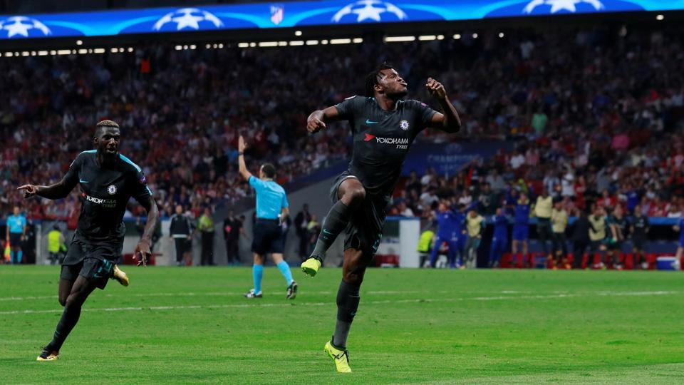 Chelsea's Michy Batshuayi celebrates scoring the winning goal vs Atletico Madrid in their UEFAChampions League Group C fixture.