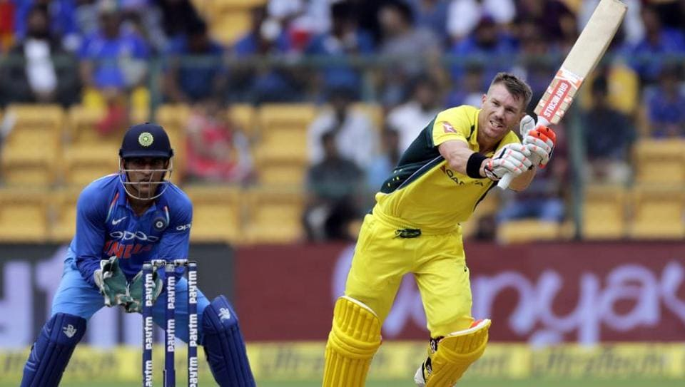 David Warner in action during the 4th One Day International between India and Australia at the M. Chinnaswamy Stadium in Bangalore.