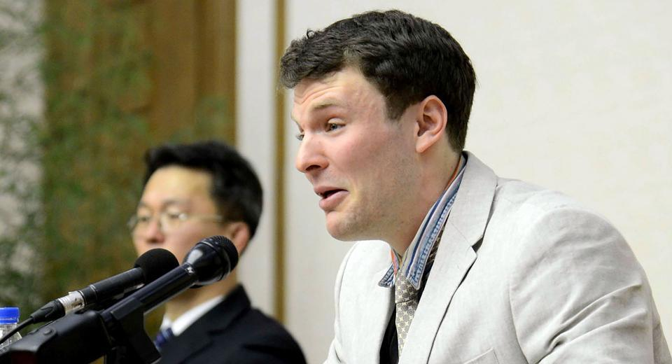 The Korean Central News Agency's handout photo shows US student Otto Frederick Warmbier, who was arrested for committing hostile acts against North Korea, speaking at a press conference in Pyongyang.