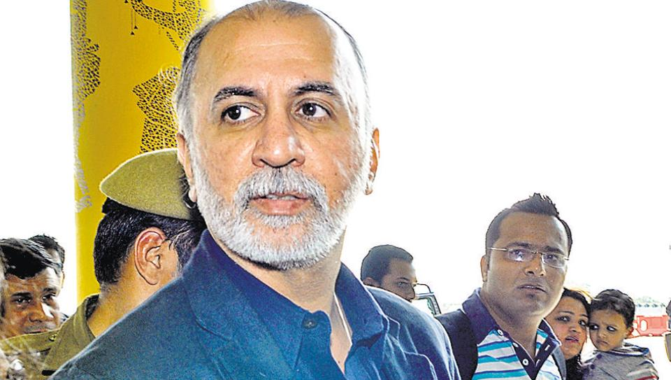 Tarun Tejpal at the airport in New Delhi.