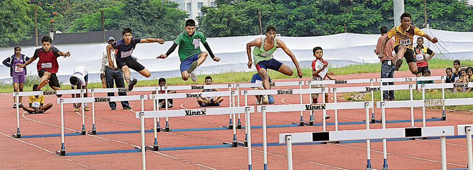 The under-14 boys hurdles event at Balewadi as part of the inter-school athletics tournament. Vivek Yadav of Shanu Patel school claimed the title, with Danish Chandagi of St Vincent's School and Amogh Sathe of Shamrao Kalmadi School placed second and third respectively.