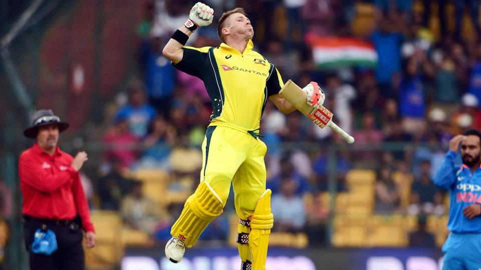Australia's David Warner jumps in the air after scoring his hundred. (PTI)