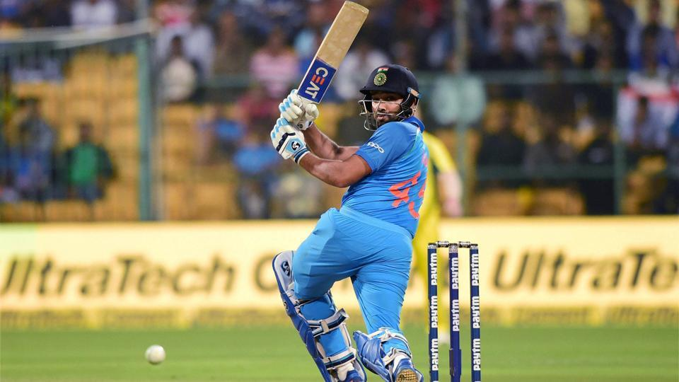 India's Rohit Sharma plays a shot during the 4th ODI cricket match against Australia. (PTI)