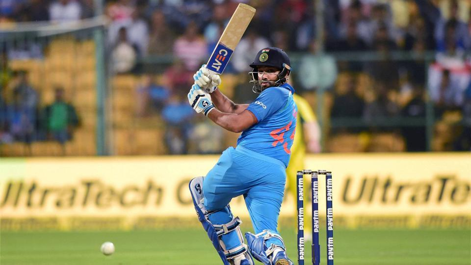 Rohit Sharma in action during the 4th One Day International between India and Australia at the M. Chinnaswamy Stadium in Bangalore.