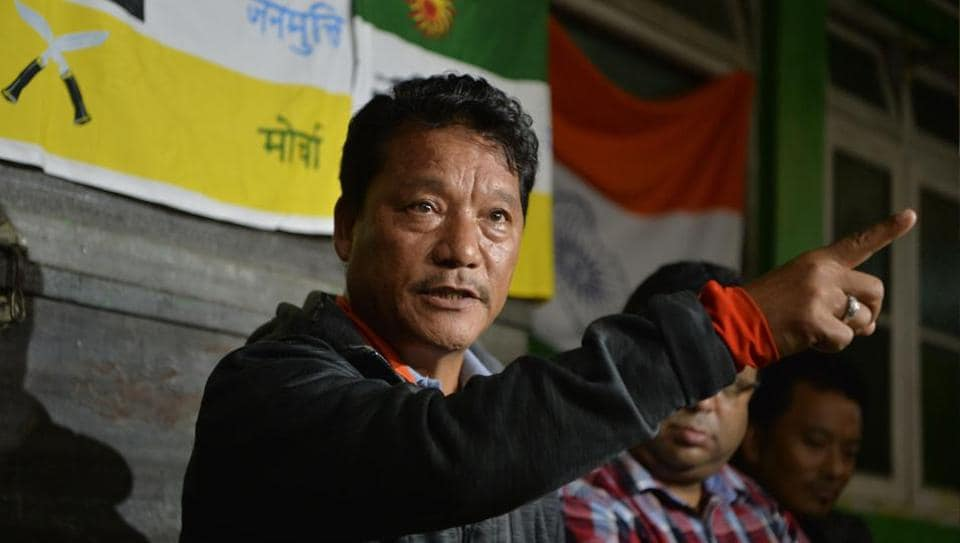 Bimal Gurung, head of the Gorkha Janmukti Morcha (GJM), speaks at a news conference on July 4, 2017.