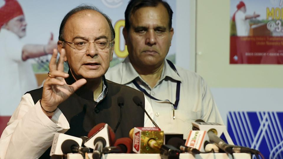 Finance minister Arun Jaitley at the release of the book India @ 70 Modi @ 3.5 in New Delhi on Thursday.