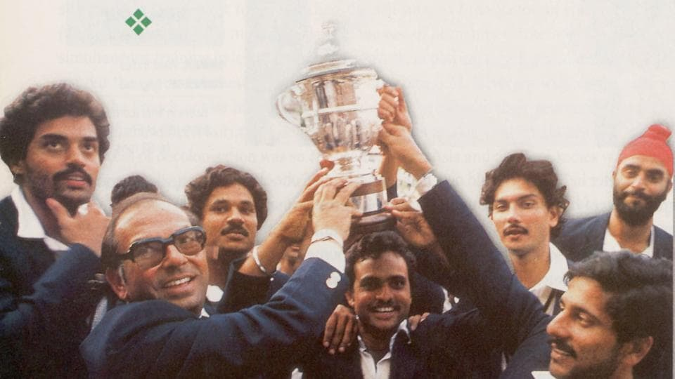The Indian cricket team with 1983 World Cup trophy.