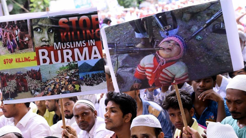 People protest against the genocide of Rohingya Muslims in Myanmar, New Delhi, September 21, 2017
