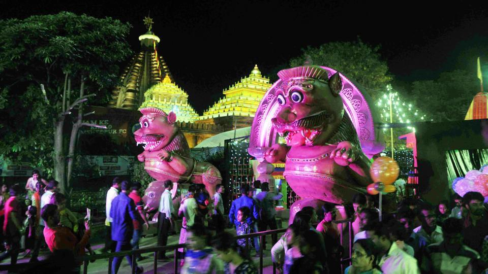 Idols and effigies seen at the Durga Puja pandal of the Ranchi Railway station Durga Puja Samiti.The nature of Durga Puja has changed over time and the present puja is as much about mingling and having fun, as it is about celebrating the Goddess Durga. (Parwaz Khan / HT Photo)