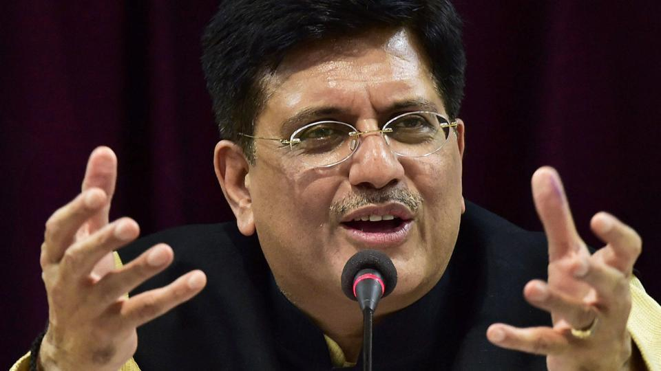 Railway Minister Piyush Goyal gestures as he addresses a press conference in New Delhi on Thursday.