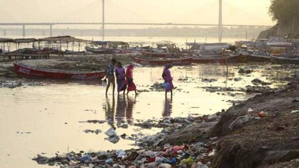 Banks of the Ganga filled with garbage at Sangam in Allahabad.