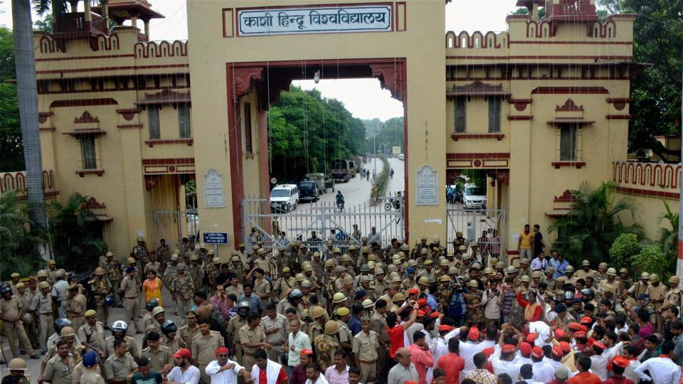 Heavy police force deployed outside the Banaras Hindu University as Samajwadi Party workers protest, in Varanasi.