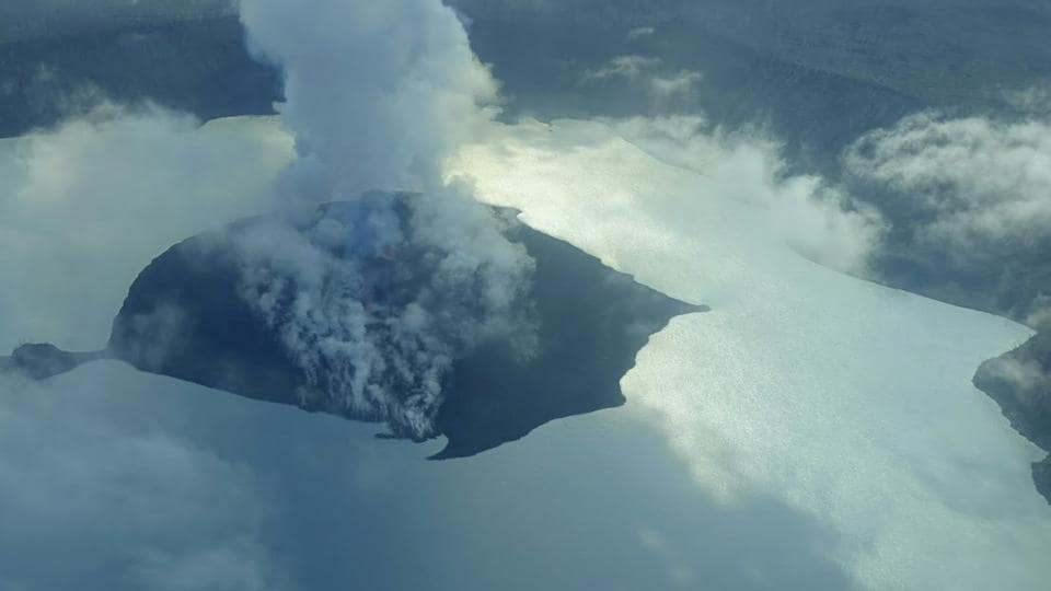 A cloud of smoke from Manaro Voui volcano is seen on Vanuatu's northern island Ambae in the South Pacific, on September 25, 2017.