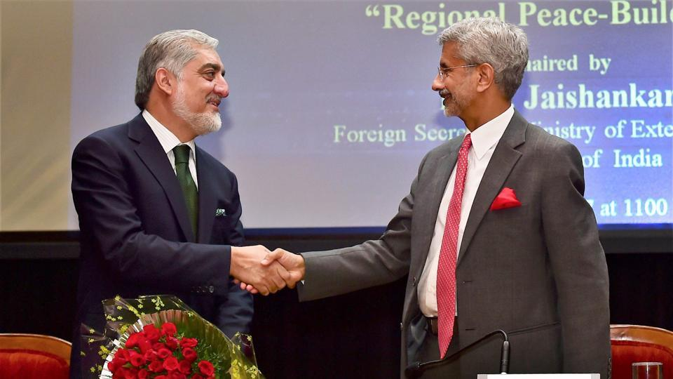 Afghanistan's chief executive Abdullah Abdullah shakes hands with foreign secretary S Jaishankar during the 24th Sapru House Lecture at Indian Council for World Affairs, in New Delhi on Friday.