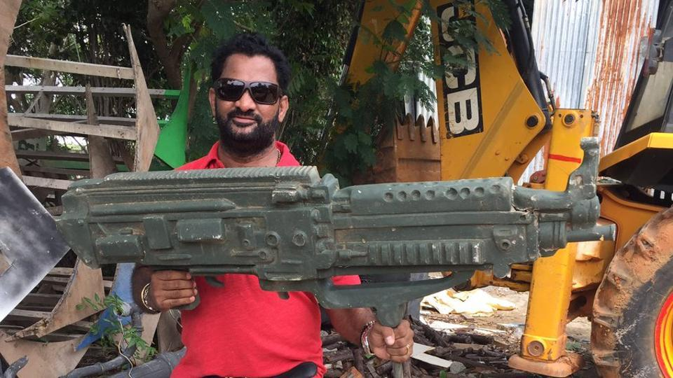 Resul Pookutty and his 'gun': Sound recording for Rajinikanth's 2.o is in full swing.